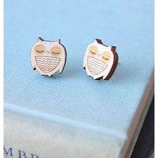 Sleeping Wooden Owl Earrings